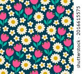 cute hand drawn floral seamless ...   Shutterstock .eps vector #2016615575