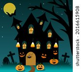 halloween house with moon ... | Shutterstock .eps vector #2016615908