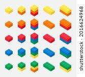 isometric building brick block...   Shutterstock .eps vector #2016624968