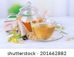 tasty herbal tea with linden