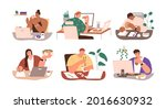 set of people eating food at... | Shutterstock .eps vector #2016630932