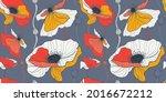 summer white and red poppy... | Shutterstock .eps vector #2016672212