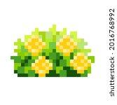 rose bush pixel art. decorative ...   Shutterstock .eps vector #2016768992