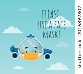 the plane is wearing a face... | Shutterstock .eps vector #2016892802