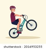 a young man does tricks in the...   Shutterstock .eps vector #2016953255