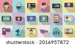 stream icons set flat vector....   Shutterstock .eps vector #2016957872