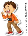 sticker template with a boy... | Shutterstock .eps vector #2016987692