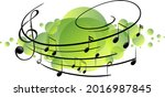 musical melody symbols on green ... | Shutterstock .eps vector #2016987845