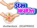 stay healthy font with hands... | Shutterstock .eps vector #2016990032