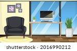 living room interior design... | Shutterstock .eps vector #2016990212