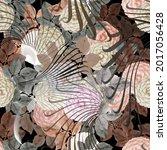 floral autumn seamless pattern. ... | Shutterstock .eps vector #2017056428
