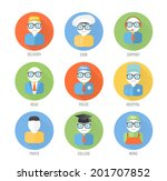 set male faces circle icons of... | Shutterstock .eps vector #201707852
