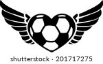 Soccer Heart With Wings