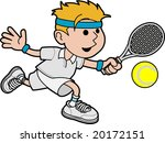 Illustration of male tennis player hitting ball with tennis racket - stock vector