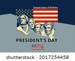 happy presidents day card with...   Shutterstock .eps vector #2017254458