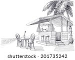 beach bar vector sketch | Shutterstock .eps vector #201735242