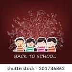 cute kids reading book education | Shutterstock .eps vector #201736862