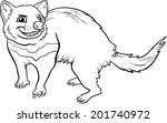 Black and White Cartoon Vector Illustration of Funny Tasmanian Devil Marsupial Animal for Coloring Book