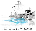 Harbor Sketch  Boat On Shore...