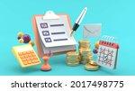 3d check list floating on... | Shutterstock . vector #2017498775