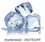 Three Ice Cubes On White...