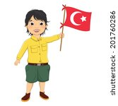 Boy With Turkish Flag Vector...