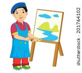 boy painting vector illustration | Shutterstock .eps vector #201764102