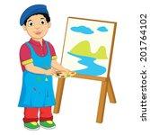 boy painting vector illustration | Shutterstock .eps vector #201764102