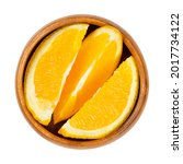 orange slices  in a wooden bowl....   Shutterstock . vector #2017734122