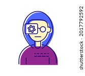 cyberpunk human with camera eye ...   Shutterstock .eps vector #2017792592