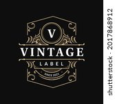 ornate vintage badge label with ... | Shutterstock .eps vector #2017868912