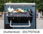 Closeup Outdoor Steel Trash Can ...