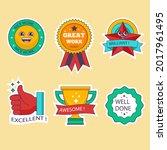 job and great job stickers logo.... | Shutterstock .eps vector #2017961495