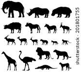 african animals silhouettes set.... | Shutterstock .eps vector #201801755