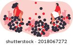 summer party with flat people... | Shutterstock .eps vector #2018067272