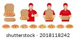 handsome delivery man in red...   Shutterstock .eps vector #2018118242