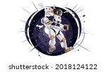 cosmonaut flying in space.... | Shutterstock .eps vector #2018124122