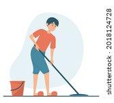 man washing floor at home... | Shutterstock .eps vector #2018124728