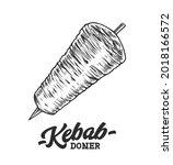 doner kebab retro emblem. logo...   Shutterstock .eps vector #2018166572
