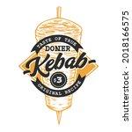 doner kebab retro emblem. logo...   Shutterstock .eps vector #2018166575