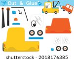 funny tow truck pulling a car.... | Shutterstock .eps vector #2018176385