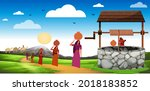 early morning traditional...   Shutterstock .eps vector #2018183852