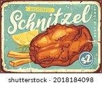 fried schnitzel vintage food...   Shutterstock .eps vector #2018184098