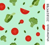 seamless vegetable pattern with ...   Shutterstock .eps vector #2018199788