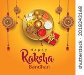 happy raksha bandhan with...   Shutterstock .eps vector #2018243168