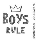 boys rule hand drawn lettering... | Shutterstock .eps vector #2018260478