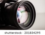 Close-up of a photographic lens - stock photo