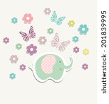 beautiful baby vintage greeting ... | Shutterstock .eps vector #201839995