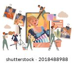 people photographer in overall... | Shutterstock .eps vector #2018488988