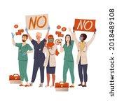 group of dissatisfied people... | Shutterstock .eps vector #2018489108